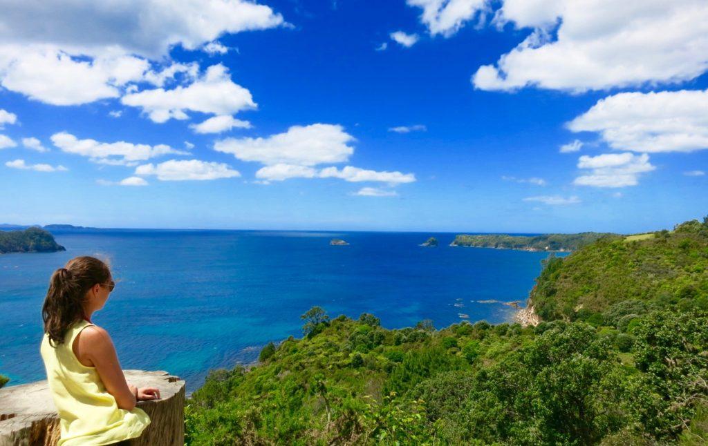 Unterwegs auf dem Cathedral Cove Walk mit fantastischen Aussichten